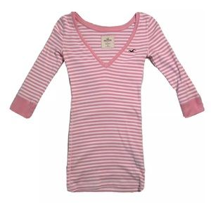Hollister Women's Casual Pink & White T-Shirt